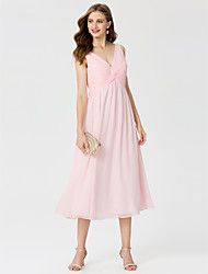 cheap -A-Line Princess V Neck Tea Length Chiffon Bridesmaid Dress with Beading Criss Cross by LAN TING BRIDE®