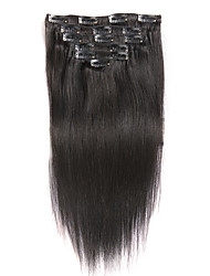 Clip In Brazilian Straight Virgin Hair Extensions 7Pcs/Set 100G  #1 Color Human Hair