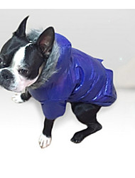 Dog Coat Hoodie Puffer / Down Jacket Dog Clothes Casual/Daily Solid Gray Purple Blue Pink Costume For Pets