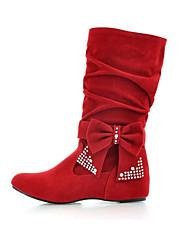preiswerte -Damen Schuhe Nubukleder Frühling / Herbst Komfort / Neuheit / Stiefeletten Stiefel Keilabsatz Spitze Zehe Mittelhohe Stiefel Schleife /