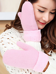 Women's Wool Rabbit Fur Wrist Length FingertipsAccessories Casual Cartoon Winter Gloves Keep Warm Lovely Fashion Knitwear Solid Fall