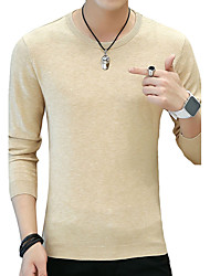 cheap -Men's Daily Work Casual Boho Street chic Regular Pullover,Solid Print Round Neck Long Sleeves Cotton Fall Medium Micro-elastic