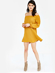 Women's Holiday Casual/Daily Sheath Dress,Solid Boat Neck Mini Long Sleeves Polyester Fall Winter High Rise Micro-elastic Medium