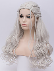 cheap -Women Synthetic Wig Game of Thrones Cosplay Wig Daenerys Targaryen Khalessi Long Curly Silver Halloween  Costume Wigs