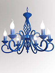 cheap -Mediterranean Blue Iron Art Candle Lamp Dining Room Novelty Lighting  6 Heads