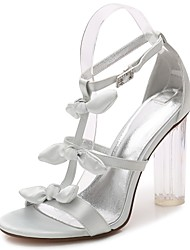 cheap -Women's Shoes Satin Spring / Summer Basic Pump / Ankle Strap / Transparent Shoes Sandals Chunky Heel / Translucent Heel / Crystal Heel