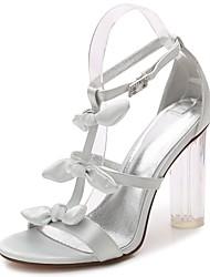 preiswerte -Damen Schuhe Satin Frühling Sommer Pumps Knöchelriemen Transparente Schuh Sandalen Blockabsatz Durchsichtige Absätze Kristallabsatz Runde