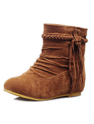 cheap -Women's Shoes Nubuck leather Fall / Winter Comfort / Novelty / Fashion Boots Boots Flat Heel Round Toe Flower Beige / Yellow / Brown