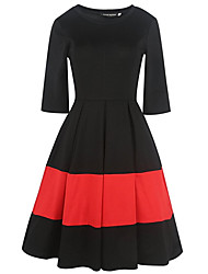 Women's Party Going out Sexy Vintage Simple Sheath Swing Dress,Solid Striped Patchwork Round Neck Knee-length Half Sleeves Cotton