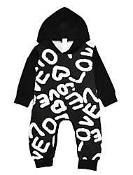 Baby Boys' Print One-Pieces,Cotton Winter Spring/Fall Cartoon Long Sleeve Black