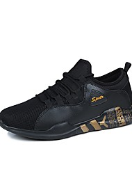 Men's Shoes Tulle Spring Fall Comfort Sneakers Lace-up For Casual Black/Blue Black/White Black/Gold White