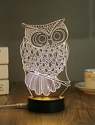 1 Set, Popular Home Acrylic 3D Night Light LED Table Lamp USB Mood Lamp Gifts, Owl