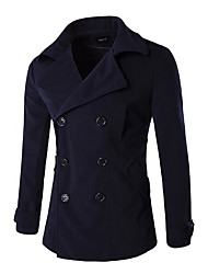 Men's Casual/Daily Simple Fall Winter Coat,Solid Shirt Collar Long Sleeve Regular Others