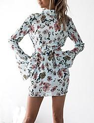 Gaine Robe Femme Décontracté / Quotidien Sexy,Fleur Mao Mini Manches Longues Polyester Printemps Automne Taille Normale Micro-élastique