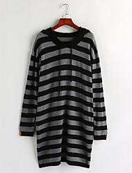 Women's Casual/Daily Simple Long Pullover,Striped Hooded Long Sleeves Cotton Winter Medium Micro-elastic