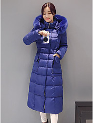 Damen Daunen Mantel,Lang Einfach Lässig/Alltäglich Solide-Baumwolle Andere Polypropylen Langarm