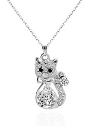 cheap -Women's Flower Rhinestone Pendant Necklace Chain Necklace Y-Necklace  -  Animal Design Animal Silver Necklace For Party Birthday Party /