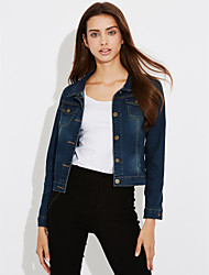 cheap -Women's Beach Work Street chic Denim Jacket - Solid Colored Square Neck