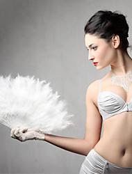 1Pcs   Feather Fans Folding Dance Hand Fan Fancy Costumes For Women Halloween Wedding Party Supplies