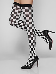 Women's   Warm Stockings,Nylon,Fashion Classic Black and white Check