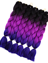 cheap -Jumbo Hair Braid Crochet Ombre Braiding Hair 100% Kanekalon Hair Black/Green Black/Purple Black/Blue Medium Brown Medium Brown/Medium