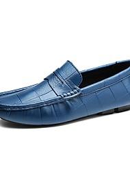Masculino sapatos Pele Real Primavera Outono Sapatos de mergulho Mocassins e Slip-Ons Para Casual Festas & Noite Branco Preto Azul Escuro