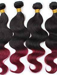 Virgin Brazilian Ombre Hair Weaves Body Wave Hair Extensions Four-piece Suit Black/Dark Wine