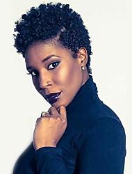 economico -Per donna Parrucche senza cappuccio per capelli umani Ricci Jheri Riccio Per donne di colore Parrucca riccia stile afro Corto Nero