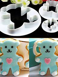 Недорогие -3pcs медведь сахара искусств набор набор помада торт инструменты / печенье фрезы