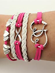 Homme Femme Bracelets Bracelets en cuir Bijoux Cœur Fait à la main Cuir Alliage Forme de Coeur Infini Bijoux Pour Mariage Soirée