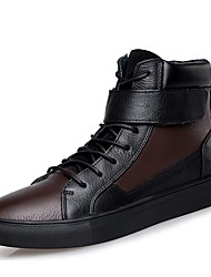 cheap -Men's Shoes Real Leather Cowhide Nappa Leather Winter Driving Shoes Fashion Boots Bootie Sneakers Booties/Ankle Boots Lace-up For Casual