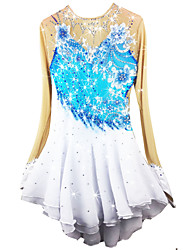 Figure Skating Dress Women's Girls' Ice Skating Dress Pale Blue Spandex Chinlon High Elasticity Solid Performance Long Sleeves Skating