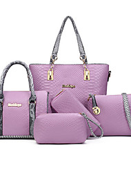 Women Bags PU Bag Set Flower(s) Zipper for Formal Office & Career All Seasons White Black Gray Purple
