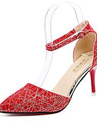 preiswerte -Damen Schuhe PU Frühling Sommer Komfort Leuchtende Sohlen High Heels Stöckelabsatz Spitze Zehe Schnalle Tupfen Für Kleid Schwarz Rot Blau
