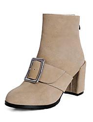 preiswerte -Damen Schuhe Leder Winter Modische Stiefel / Stiefeletten Stiefel Blockabsatz Runde Zehe Booties / Stiefeletten Schnalle / Reißverschluss
