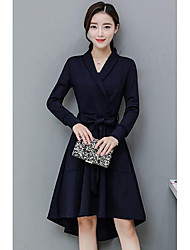 Women's Casual/Daily Work Sheath Dress,Solid V Neck Knee-length Asymmetrical Long Sleeves Others Fall Mid Rise Micro-elastic Medium