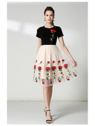 cheap -Women's Cute Casual A Line Dress - Embroidered, Classic Style Heart Style Butterly Style Modern Style