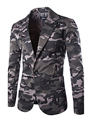 cheap -Men's Daily Simple Casual Winter Fall Blazer,Camouflage Shirt Collar Long Sleeve Regular Cotton