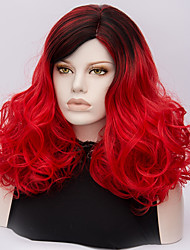 Women Synthetic Wig Capless Medium Deep Wave Red Ombre Hair Halloween Wig Costume Wigs