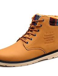 baratos -Homens sapatos Courino Inverno Outono Forro de fluff Coturnos Curta/Ankle Botas da Moda Botas de Neve Oxfords Botas Curtas / Ankle