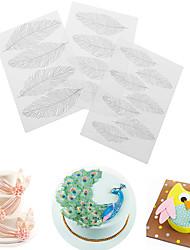 cheap -3PCS Feather Texture Sheet Set Sugar Craft Decoration Texture Matcake Mould