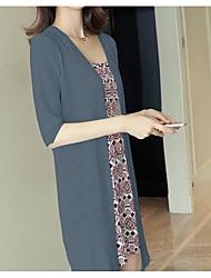 Lungo Cardigan Da donna-Per uscire Casual Tinta unita A V Mezza manica Cotone Estate Sottile Anelastico