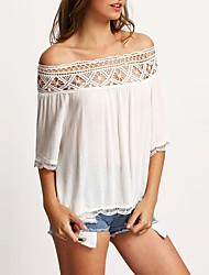 cheap -Women's Polyester T-shirt - Color Block, Lace Cut Out Boat Neck