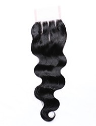 10 Inches Grade 8A 4x4 Lace Top Closure 100% Brazilian Human Hair Factory Wholesale Top Selling Perfect #1B Natural Black Body Wave Hair Closure 1 Pcs