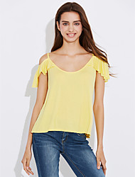 cheap -Women's Beach Going out Holiday T-shirt - Solid Colored Strap