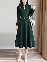 baratos -Mulheres Bainha balanço Vestido Sólido Decote V
