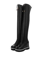 Women's Shoes PU Fall Winter Comfort Fashion Boots Boots Wedge Heel Round Toe Knee High Boots Zipper For Party & Evening Dress Black White
