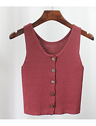 Women's Casual/Daily Short Vest,Solid Strap Sleeveless Cotton Summer Fall Thin Micro-elastic