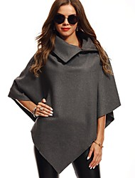 cheap -Women's Daily Simple Casual Winter Fall Cloak/Capes,Solid Shawl Lapel Sleeveless Long Cashmere Rayon