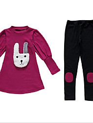 cheap -Girls' Clothing Set, Cotton Polyester Fall Long Sleeves Cartoon Fuchsia